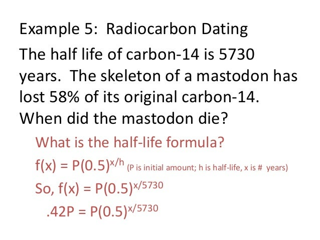 carbon 14 dating exponential equation examples