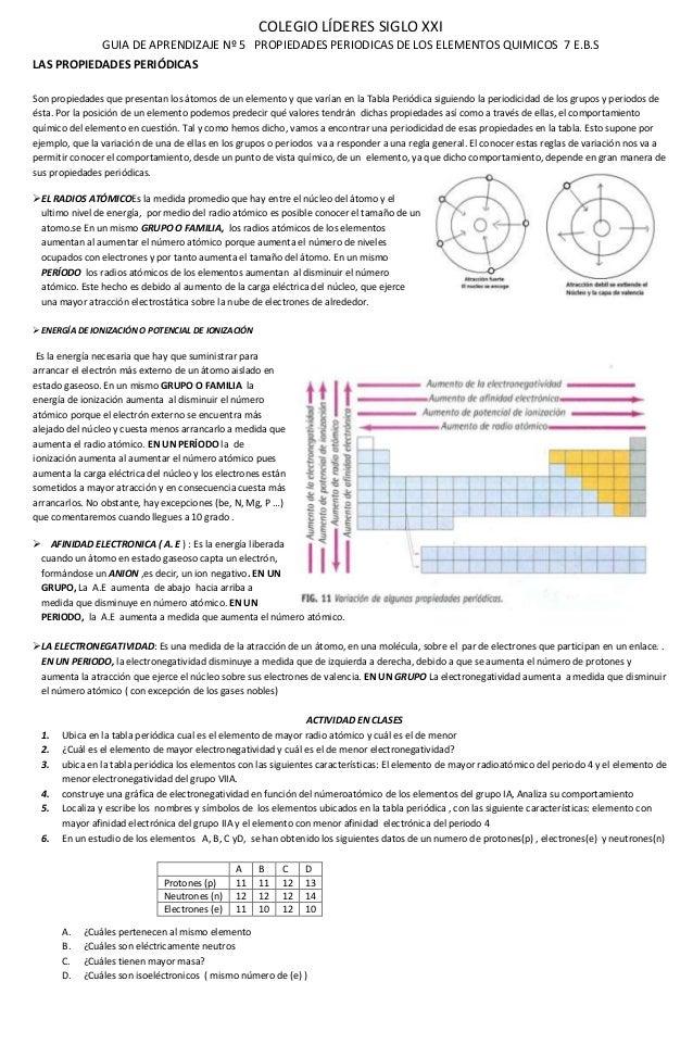 5 guia de aprendizaje las propiedades peridicas colegio lderes siglo xxi guia de aprendizaje n 5 propiedades periodicas de los elementos quimicos 7 urtaz Images