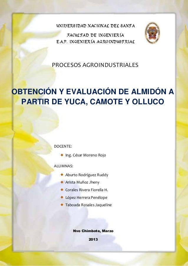UNIVERSIDAD NACIONAL DEL SANTA FACULTAD DE INGENIERÍA E.A.P. INGENIERÍA AGROINDUSTRIAL  PROCESOS AGROINDUSTRIALES  OBTENCI...