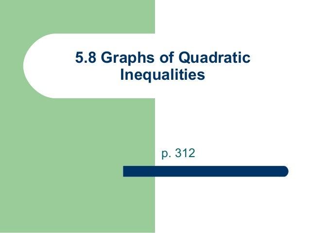 5.8 Graphs of Quadratic Inequalities  p. 312