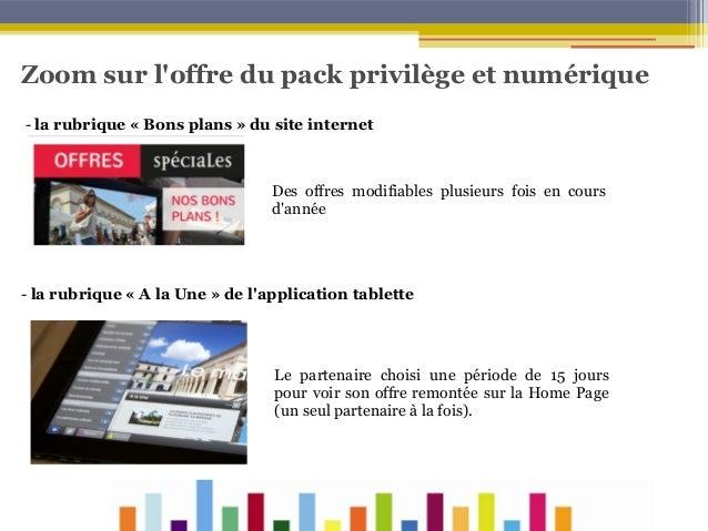 Zoom sur l'offre du pack privilège et numérique - la rubrique «Bons plans»du site internet  Des offres modifiables plus...