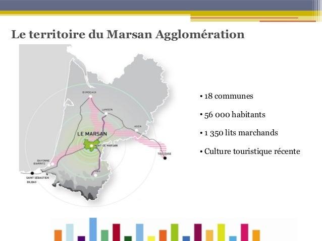 Le territoire du Marsan Agglomération  ●  18 communes  ●  56 000 habitants  ●  1 350 lits marchands  ●  Culture touristiqu...