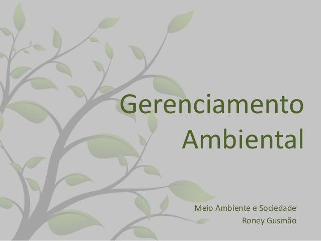 Gerenciamento Ambiental Meio Ambiente e Sociedade Roney Gusmão