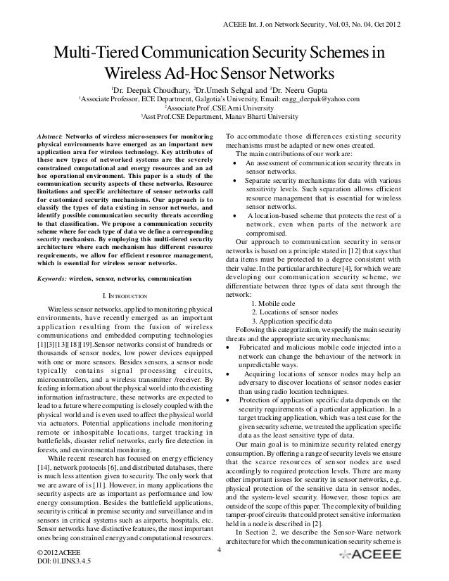 ACEEE Int. J. on Network Security , Vol. 03, No. 04, Oct 2012  Multi-Tiered Communication Security Schemes in Wireless Ad-...