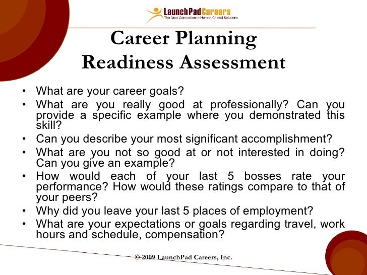 Career Planning Readiness Assessment ...