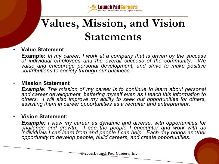 Personal Value Statement  Resume Value Statement