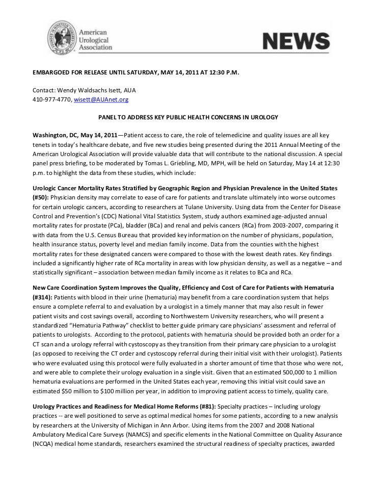 EMBARGOED FOR RELEASE UNTIL SATURDAY, MAY 14, 2011 AT 12:30 P.M.Contact: Wendy Waldsachs Isett, AUA410-977-4770, wisett@AU...