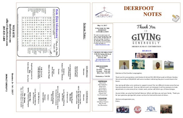 May 14, 2017 Greeters5–14-2017 IMPACTGROUP2 DEERFOOT NOTES WELCOME TO THE DEERFOOT CONGREGATION We want to extend a warm w...