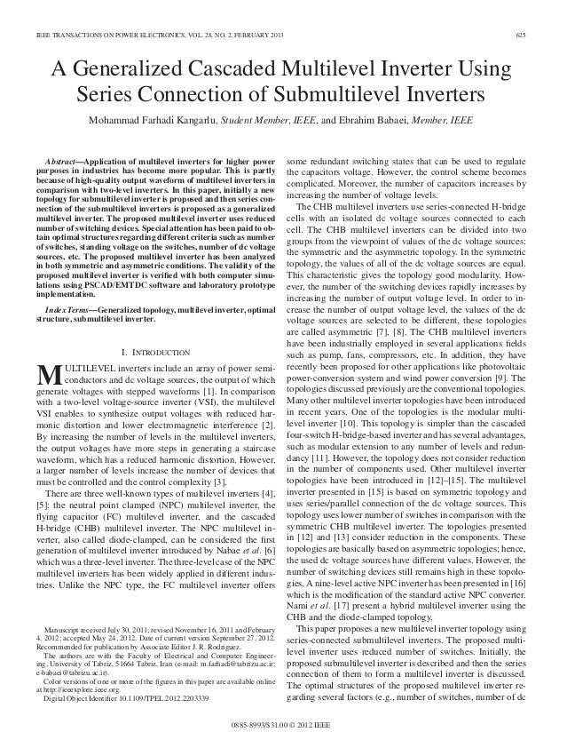 IEEE TRANSACTIONS ON POWER ELECTRONICS, VOL. 28, NO. 2, FEBRUARY 2013  625  A Generalized Cascaded Multilevel Inverter Usi...