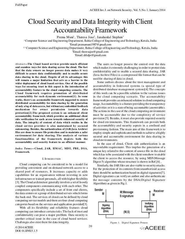 Full Paper ACEEE Int. J. on Network Security , Vol. 5, No. 1, January 2014  Cloud Security and Data Integrity with Client ...