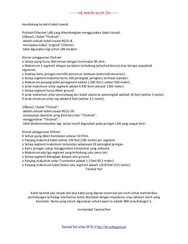 5 Kumpulan Soal Dan Jawaban Un Teori Kejuruan Tkj 2013