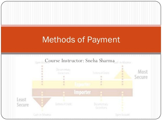 Methods of Payment Course Instructor: Sneha Sharma
