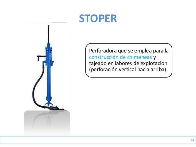 STOPER Perforadora que se emplea para la construcción de chimeneas y tajeado en labores de explotación (perforación vertic...