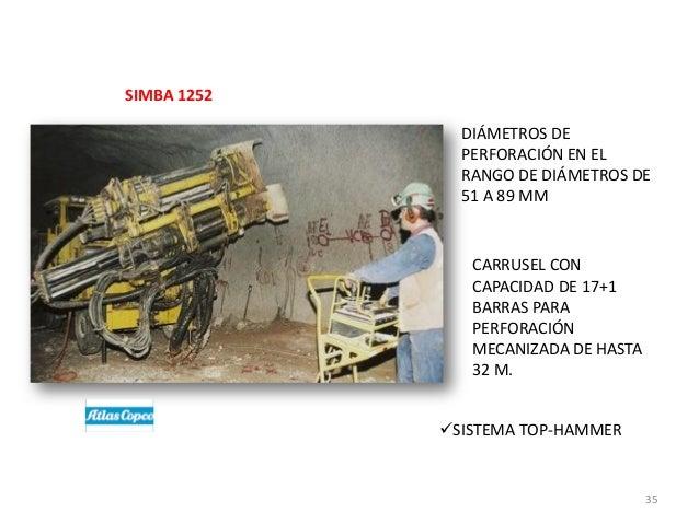 SIMBA 1252 DIÁMETROS DE PERFORACIÓN EN EL RANGO DE DIÁMETROS DE 51 A 89 MM  CARRUSEL CON CAPACIDAD DE 17+1 BARRAS PARA PER...