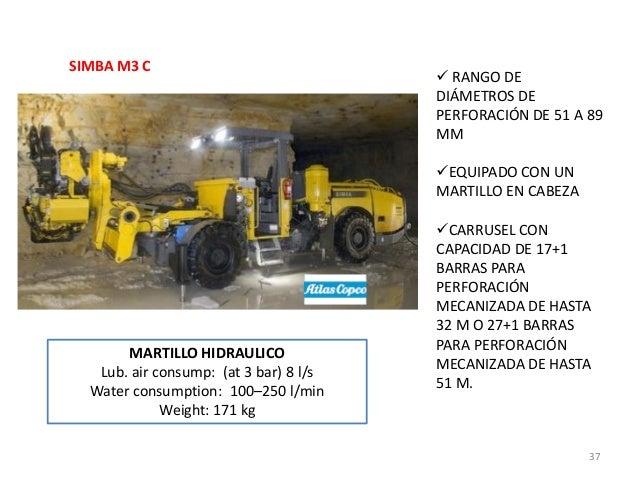 SIMBA M3 C   RANGO DE DIÁMETROS DE PERFORACIÓN DE 51 A 89 MM EQUIPADO CON UN MARTILLO EN CABEZA  MARTILLO HIDRAULICO Lub...