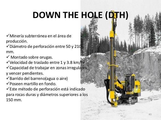 DOWN THE HOLE (DTH) Minería subterránea en el área de producción. Diámetro de perforación entre 50 y 210 mm.  Montado s...