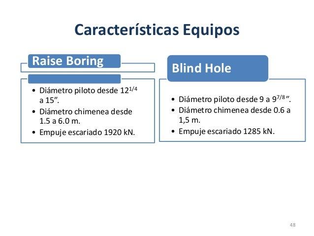 """Características Equipos Raise Boring • Diámetro piloto desde 121/4 a 15"""". • Diámetro chimenea desde 1.5 a 6.0 m. • Empuje ..."""