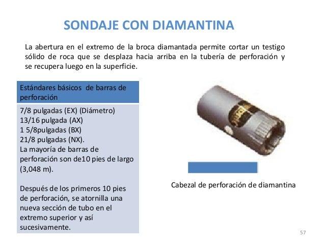 SONDAJE CON DIAMANTINA La abertura en el extremo de la broca diamantada permite cortar un testigo sólido de roca que se de...