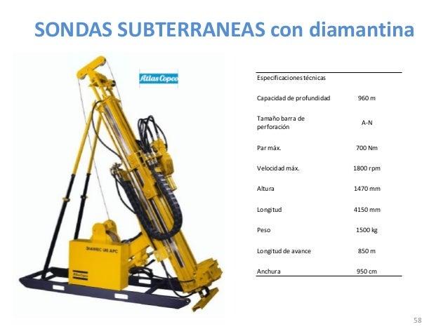SONDAS SUBTERRANEAS con diamantina Especificaciones técnicas Capacidad de profundidad Tamaño barra de perforación  Par máx...