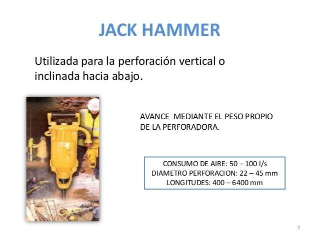 JACK HAMMER Utilizada para la perforación vertical o inclinada hacia abajo. AVANCE MEDIANTE EL PESO PROPIO DE LA PERFORADO...