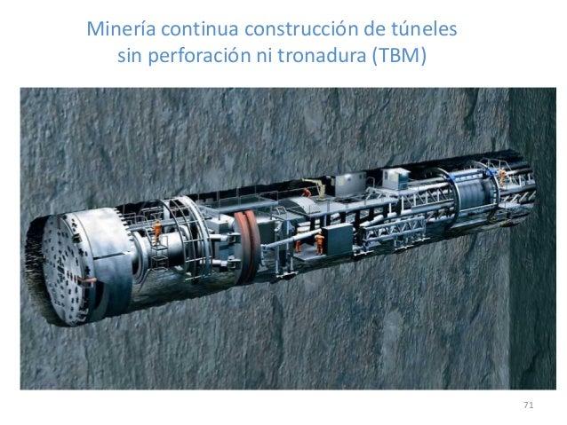 Minería continua construcción de túneles sin perforación ni tronadura (TBM)  71