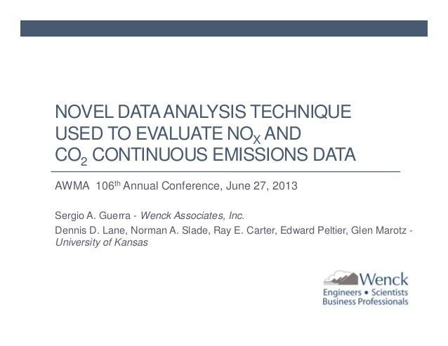 NOVEL DATA ANALYSIS TECHNIQUE USED TO EVALUATE NOX AND CO2 CONTINUOUS EMISSIONS DATA AWMA 106th Annual Conference, June 27...