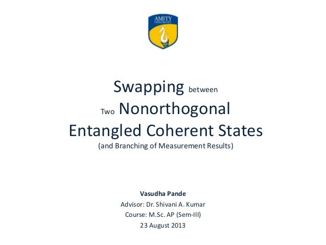 Swapping between Two Nonorthogonal Entangled Coherent States (and Branching of Measurement Results) Vasudha Pande Advisor:...