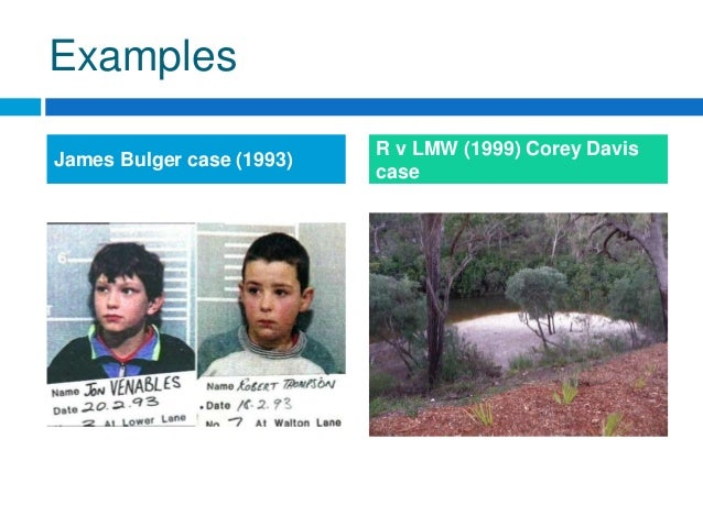 the corey davis case is an example of doli incapax in practice The james bulger case key figures investigation arrest trial aftermath timeline.