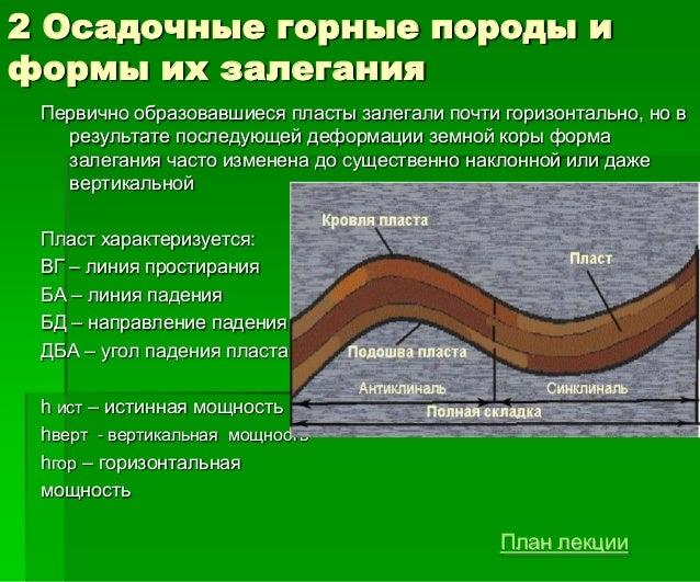 2 Осадочные горные породы и формы их залегания Первично образовавшиеся пласты залегали почти горизонтально, но в результат...