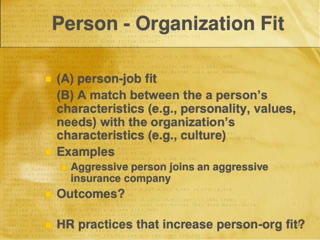 person organization fit and selection process Understanding selection processes: organization determinants and performance outcomes the selection process a reasonable conception of the hiring process although person-job fit research would argue that over.