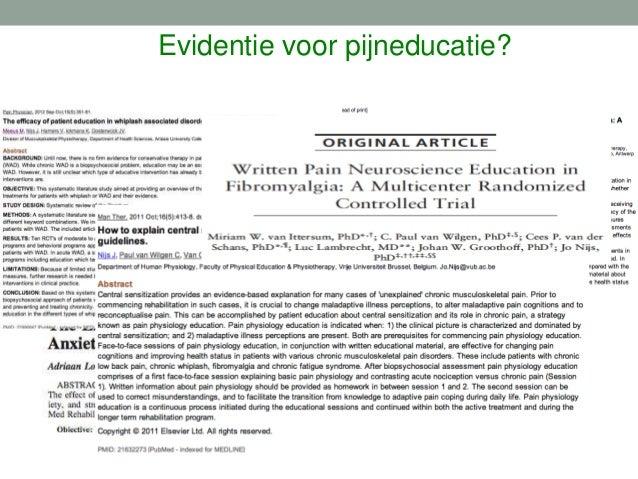 Pijn educatie • Acute pijn • Chronische pijn Schade / ontsteking ?