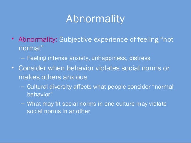 Explanations associated with Abnormality