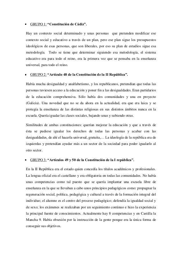 """GRUPO 1: """"Constitución de Cádiz"""". Hay un contexto social determinado y unas personas que pretenden modificar ese contexto ..."""