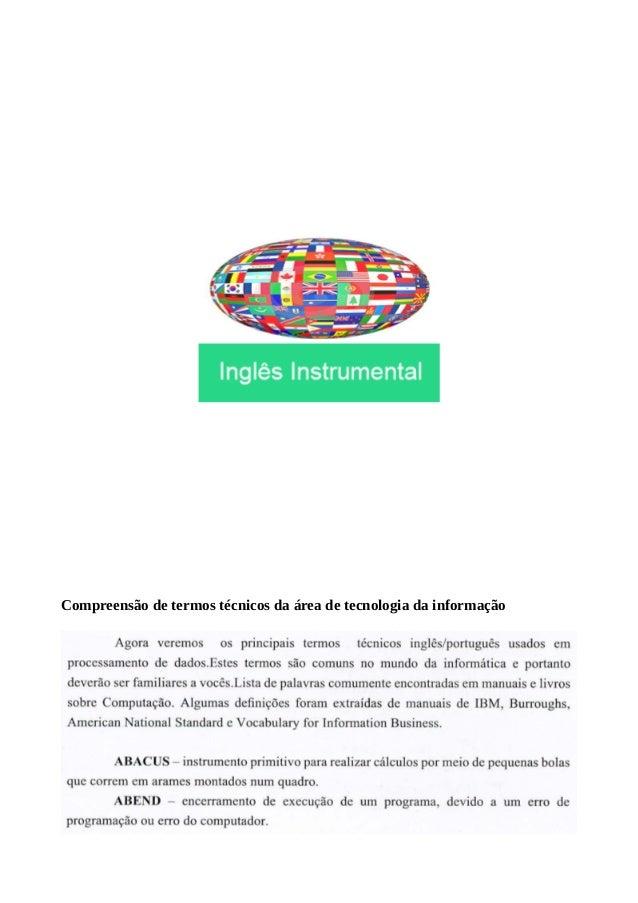 Compreensão de termos técnicos da área de tecnologia da informação
