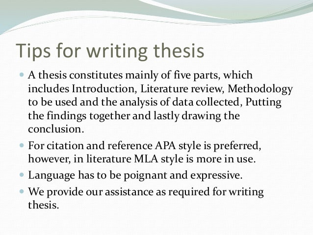 Thesis assistance writing style guide