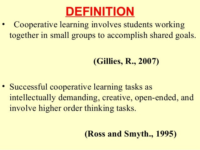 history of cooperative learning Basic elements of cooperative learning from david w johnson,  roger t johnson, edythe johnson holubec cooperation in the.