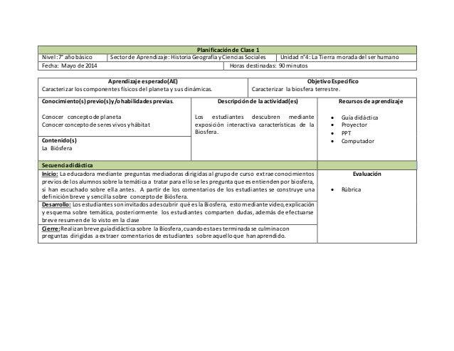 Planificación de Clase 1 Nivel:7°año básico Sectorde Aprendizaje:HistoriaGeografíayCienciasSociales Unidadn°4: La Tierra m...
