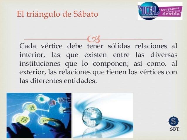 Cada vértice debe tener sólidas relaciones al interior, las que existen entre las diversas instituciones que lo componen;...