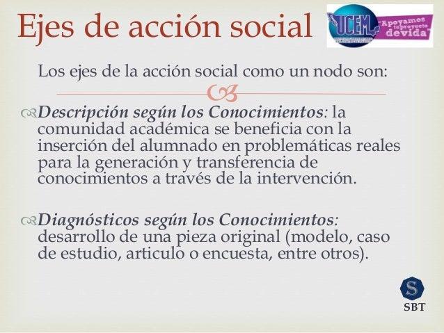  Los ejes de la acción social como un nodo son: Descripción según los Conocimientos: la comunidad académica se beneficia...