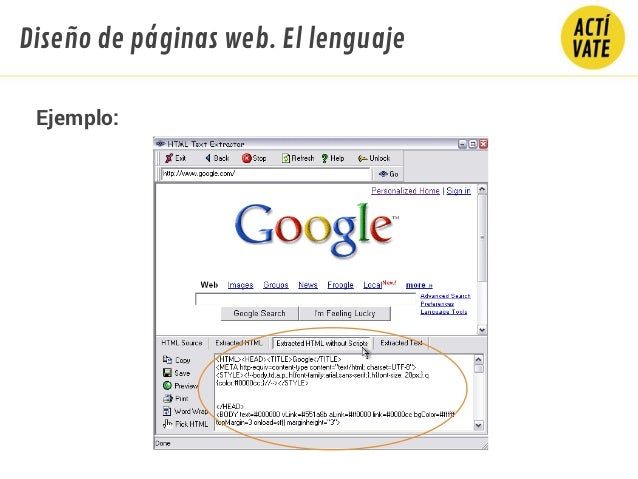 Diseño de páginas web. El lenguaje Ejemplo: