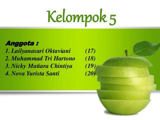Kelompok 5  Anggota :  1. Lailyanasari Oktaviani (17)  2. Muhammad Tri Hartono (18)  3. Nicky Mutiara Chintiya (19)  4. No...