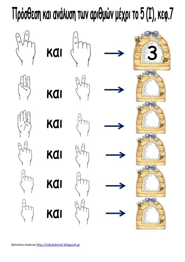 προσθετική ανάλυση των αριθμών μεχρι το 5 , κεφ.7 Slide 2