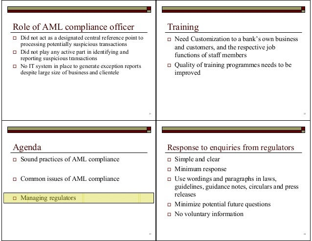 5 op risk and aml - Role of compliance officer in bank ...