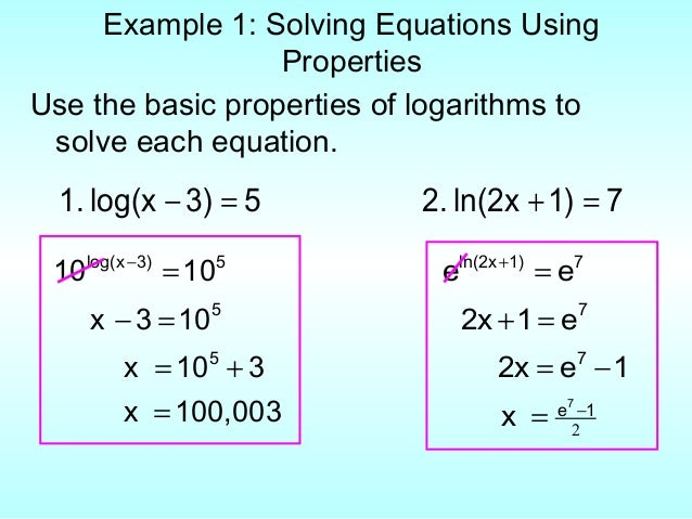 Solving Equations With E Using Natural Logarithms
