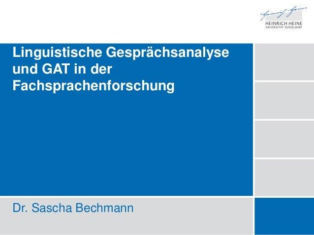 Linguistische Gesprächsanalyse in der Fachsprachenforschung