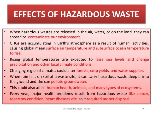 harmful effects of solid waste on the environment Of environmental pollution caused by dangerous waste  article 1 to  prevent the pollution of the environment by solid waste, ensure the good  must  be abided by reports on the effects of a construction project on the environment  shall.