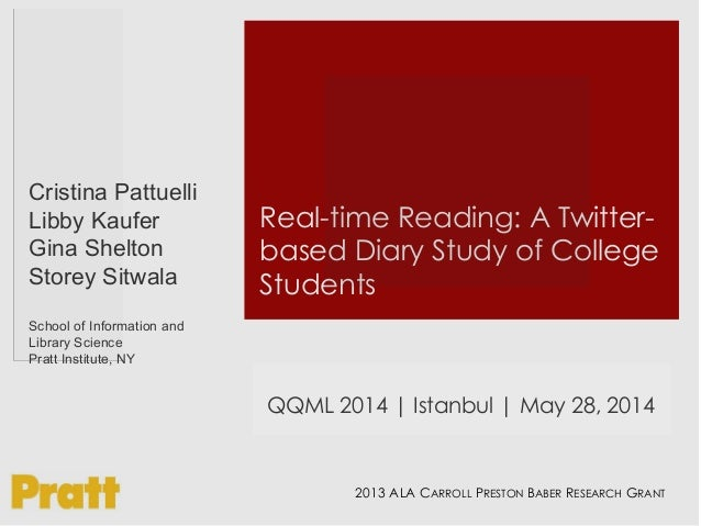 Real-time Reading: A Twitter- based Diary Study of College Students Cristina Pattuelli Libby Kaufer Gina Shelton Storey Si...