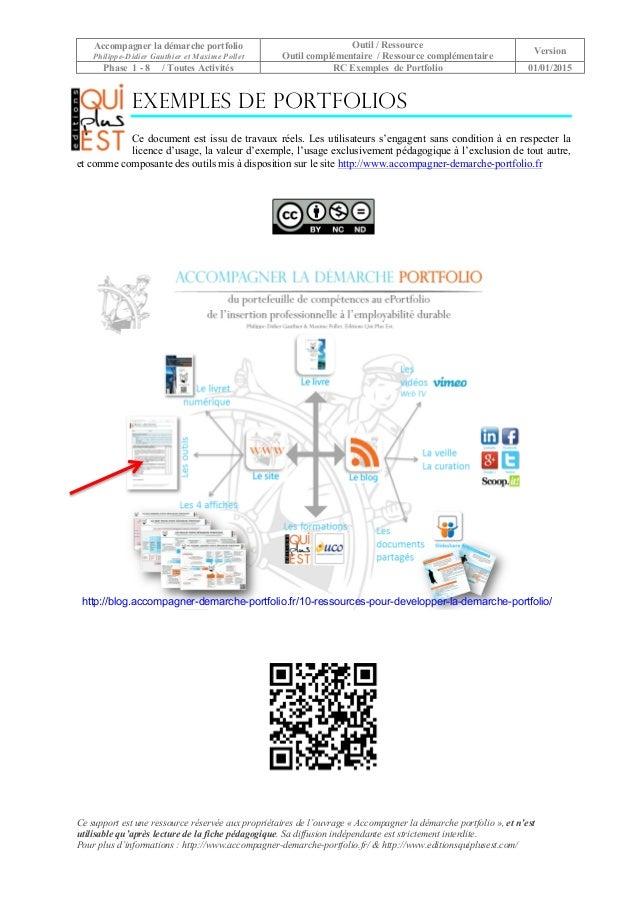 Accompagner la démarche portfolio Philippe-Didier Gauthier et Maxime Pollet Outil / Ressource Outil complémentaire / Resso...