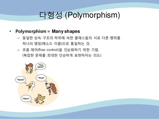 다형성 (Polymorphism) • Polymorphism = Many shapes – 동읷핚 상속 구조의 하위에 속핚 클래스들의 서로 다른 행위를 하나의 명칭(메소드 이름)으로 통읷하는 것. – 흐름 제어(flow ...