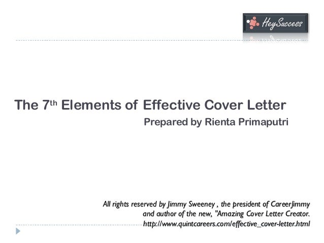 the 7th elements of effective cover letter prepared by rienta primaputri all rights reserved by jimmy